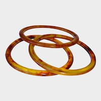 Vintage  Set of Bangle Bracelets - Tortoiseshell Color Lucite