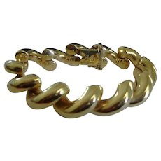 "14k Gold Vintage San Marco Bracelet Italy - Macaroni Link Bracelet - 7.5"""