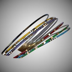 1960's Set of 7 Enamel Bangle Bracelets -  Multi Color Set