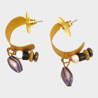 Vintage ½ Hoop Pierced Earrings with Dangling Stones