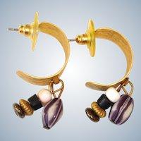 30+ % off ..  Vintage ½ Hoop Pierced Earrings with Dangling Stones