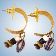 30% off ..  Vintage ½ Hoop Pierced Earrings with Dangling Stones