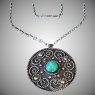 Early Los Ballesteros Taxco Sterling Silver Necklace w/ Pendant and Brooch Combo