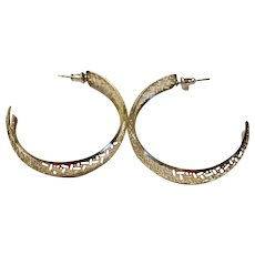 Vintage Silver Tone EX - LARGE & LIGHT Pierced Hoop Earrings