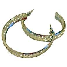 Vintage Silver Tone EX - LARGE & LIGHT Pierced Hoop Earrings