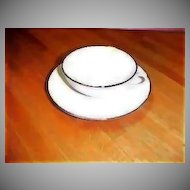 Mid Century Modern Cup & Saucer - Encanto Simplicity Platinum Band - Gladding McBean - Vintage Franciscan China