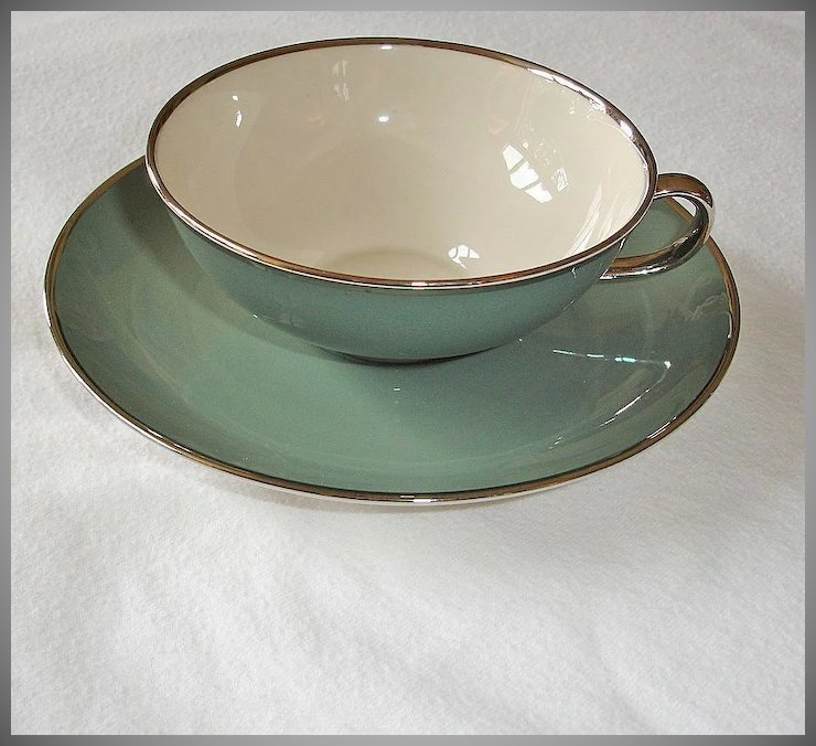Franciscan China Cup and Saucer Set - SPRUCE Green - Gladding McBean ...