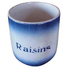 Antique Diffused Blue Pottery Canister with Raisin Stencil - Ca. 1905 Blue Diffused Container - Utensil Holder- RARE