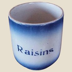 RARE Antique Blue Diffused Pottery Canister with Raisin Stencil - Ca. 1905 Blue Diffused Container -Utensil Holder