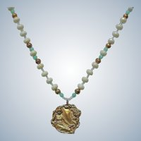 Vintage Beaded Necklace with Golden Art Nouveau Style Pendant