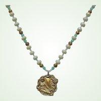 Vintage Beaded Necklace with Golden Art Nouveau Style Pendant