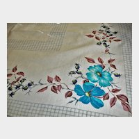 Vintage 1950's Cotton Tablecloth - Floral Kitchen Linens