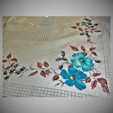 Vintage 1950's Cotton Tablecloth - Floral Kitchen Linens