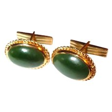 30% Off Sale - Vintage Estate 14K Yellow Gold Jade Cabochon Cufflinks - Cuff Links