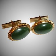 14K Yellow Gold Jade Cabochon Cufflinks  -  Cuff Links