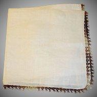 Ladies Linen Hankie - Brown Crochet Trim Handkerchief