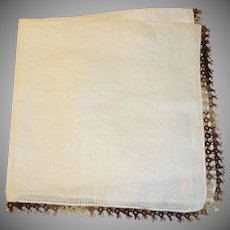 Ladies Linen Hankie - Brown Crochet Trim Handkerchief