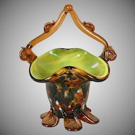 Vintage Murano Basket - Spatterware Amber Cased Glass Basket - Mid Century Modern Glass