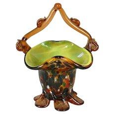 50% + off - Vintage Murano Basket - Spatterware Amber Cased Glass Basket - Mid Century Modern Glass