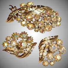 Vintage CORO Brooch and Earrings Set - Coro Signed Demi Parure