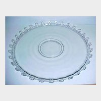"SALE - - Very Elegant HEISEY Glass Cake Plate - Serving Platter - Lariat Pattern 14"" Torte Plate"