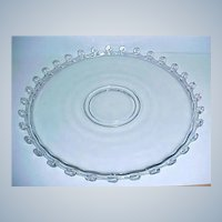 "SALE - - Very Elegant HEISEY Glass Cake Plate - Serving Platter - Lariat Pattern 14"" Torte Plate"