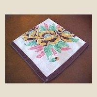 Vintage Brown Floral Cotton Hankie