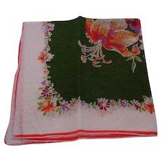Vintage Cotton Hankie - Green, Multi & White Floral Handkerchief