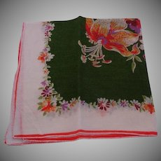 Vintage Cotton Hankie - Green, Multi & White Floral Handkerchief