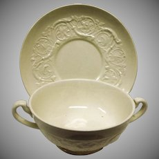 Vintage Wedgwood Patrician Plain Cream Soup and Saucer – Made In England Ofetruria & Barlaston