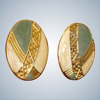 Vintage Sage Green and Cream Enamel Gold Tone Earrings - Pierced Earrings