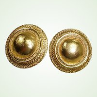 Vintage Gold Tone Dome Disc Clip-on  Earrings - MONET Signed
