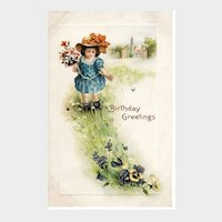 Vintage Embossed Birthday Greetings Postcard 1916
