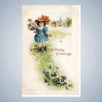 Vintage Embossed Birthday Greetings Postcard 1916