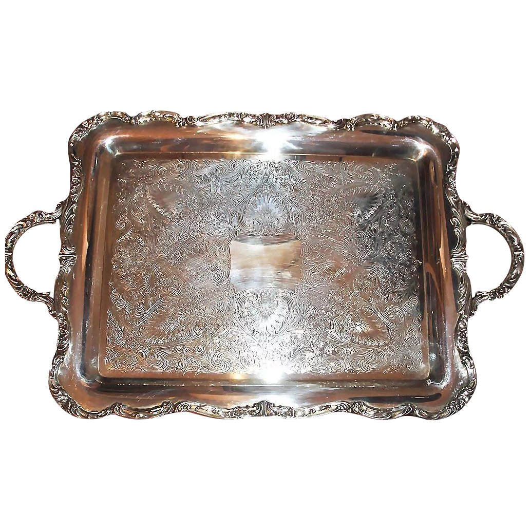 Vintage Large Wm Rogers Rectangular Tray Huge Serving Tray With