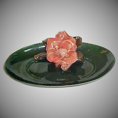 Mid-Century Modern Decorative Dish - California Pottery Bowl Dish - Large Central Flower