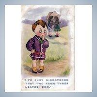Vintage Post Card - Humorous Children Greeting Postcard