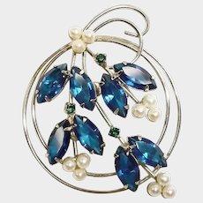 Vintage Blue Rhinestone Brooch - Vintage Rhinestone Jewelry