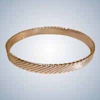 Vintage Silver Tone Swirl Texture Bangle Bracelet -  Bangle Bracelet