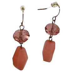 Estate Dangle Drop Glass PIERCED Earrings in Pinky - Coral