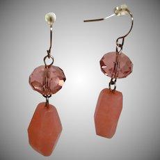 Estate Dangle Drop Glass PIERCED Earrings in Pinky - Coral