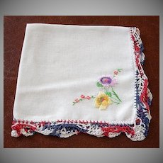 Vintage Red White and Blue Crochet Edge Hankie Handkerchief