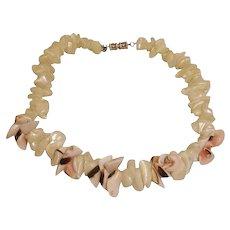 40% off SALE - Vintage Signed Les Bernard Necklace - Natural Shell Choker Necklace