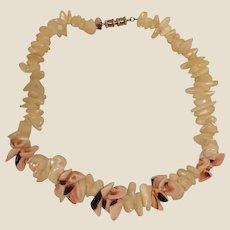 Vintage LES BERNARD Necklace- Chunky Natural Shell Choker Necklace