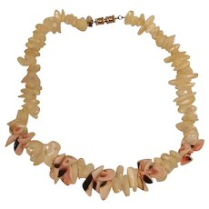 Vintage LES BERNARD Necklace- Chunky Natural Shell Choker Necklace