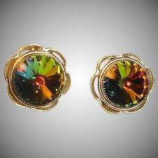 Stunning Watermelon RIVOLI Rhinestone Clip-on Earrings -as is