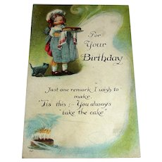 "Vintage Birthday Greeting Postcard - ""You Always Take The Cake"""