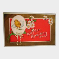 Antique Embossed Easter Greeting Postcard - Chick and Daisies