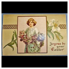 Vintage Embossed Easter Holiday Greetings Postcard - Antique Post Card