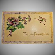 Vintage Art Deco Design Post Card - Embossed Easter Holiday Greetings Postcard